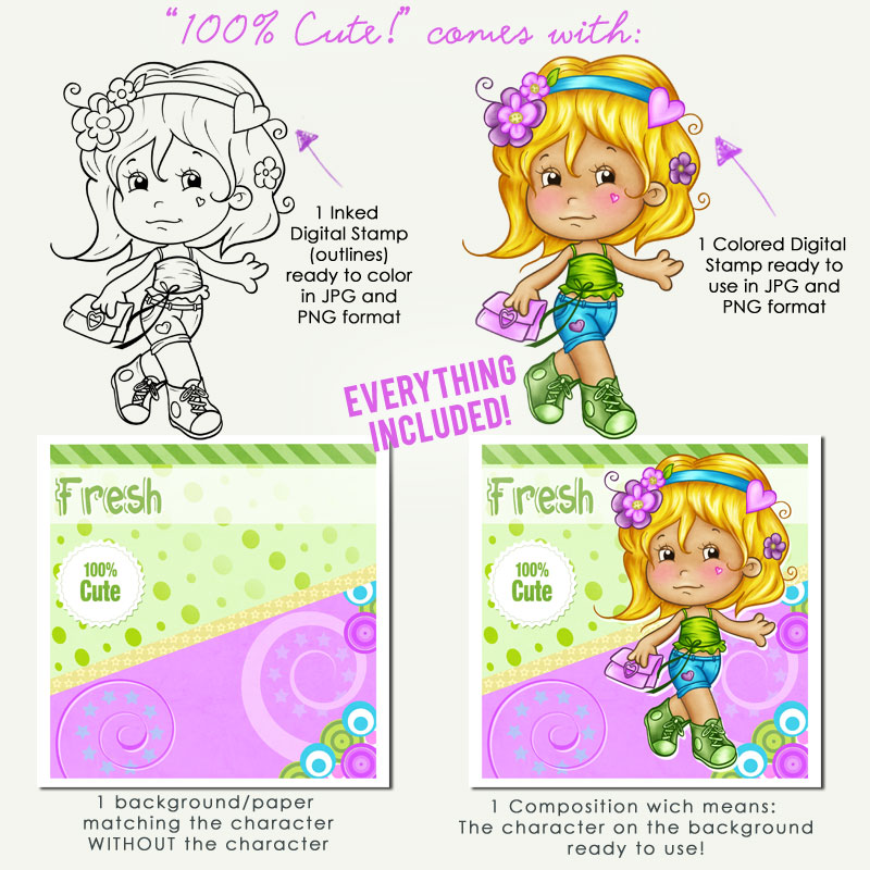 100 % Cute!! - Digital Stamp