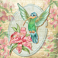 A Cheerful Hummingbird - Digital Stamp