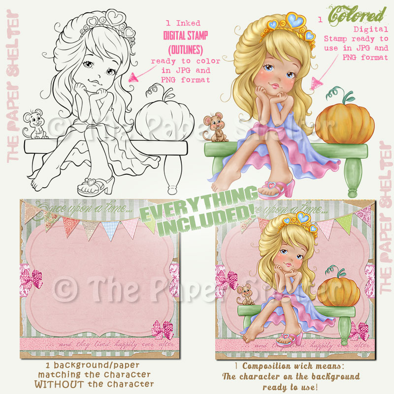 Adorable Cinderella - Digital Stamp