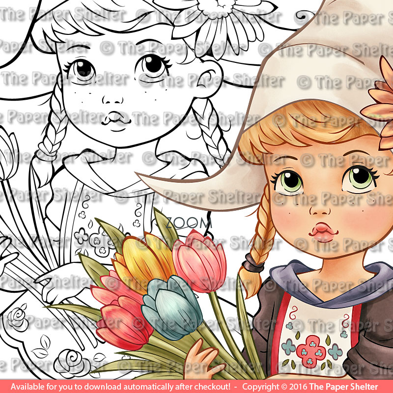 Adorable Dutch Girl - Digital Stamp