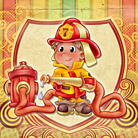 Adorable Fireman - Digital Stamp