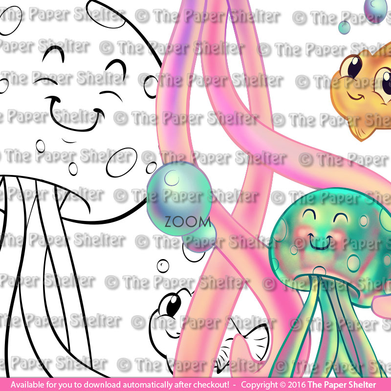 The Most Adorable Jellyfishes - Digital Stamp