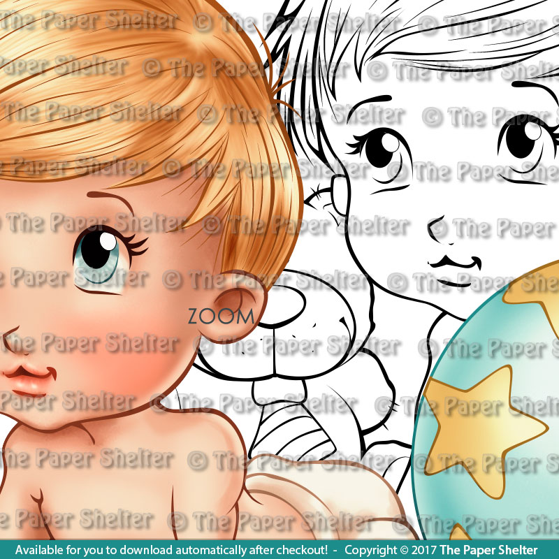 Baby and hisToys - Digital Stamp
