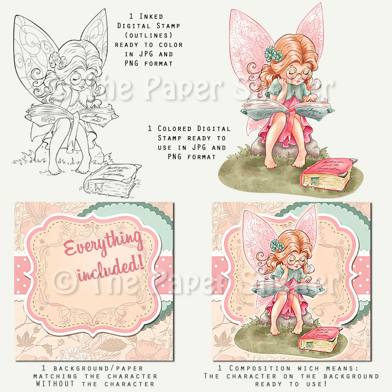 Bookworm Fairy - Digital Stamp