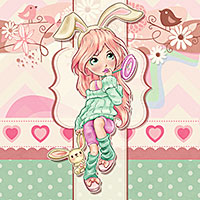 Candy Bunny - Digital Stamp