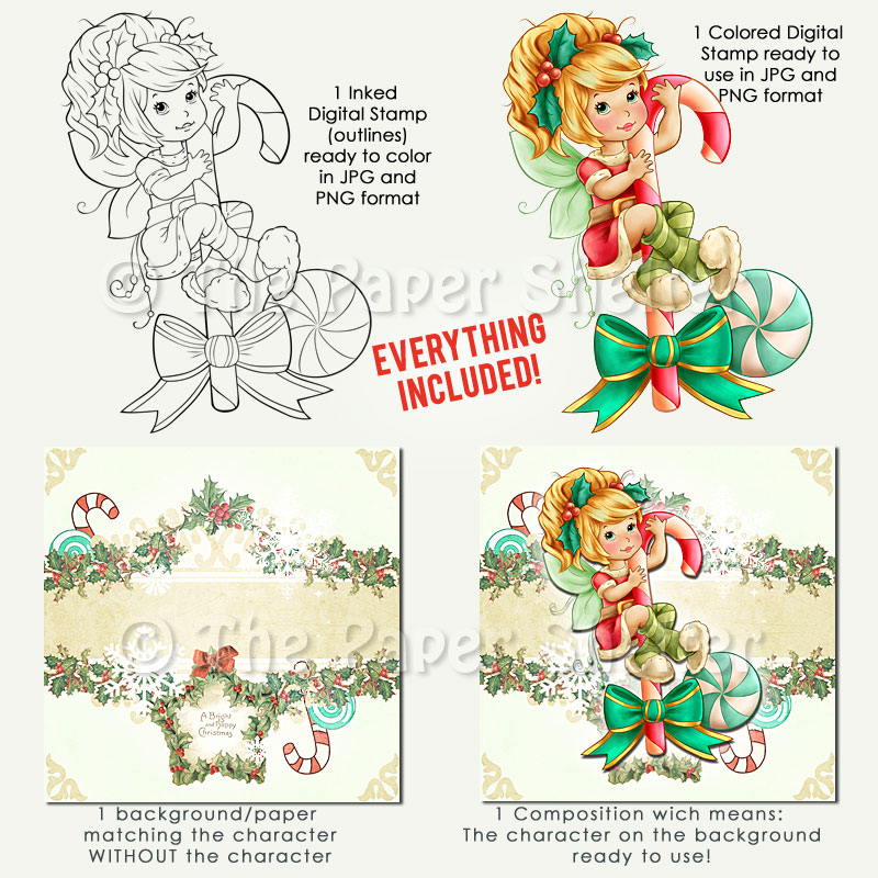 Christmas Candy Fairy - Digital Stamp