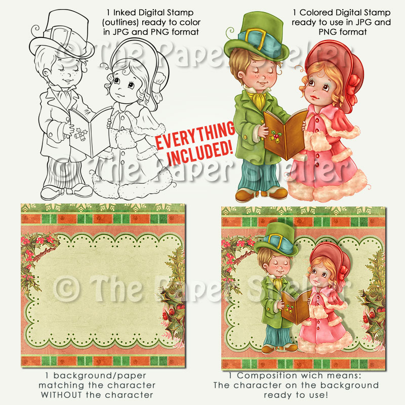 Christmas Carols - Digital Stamp