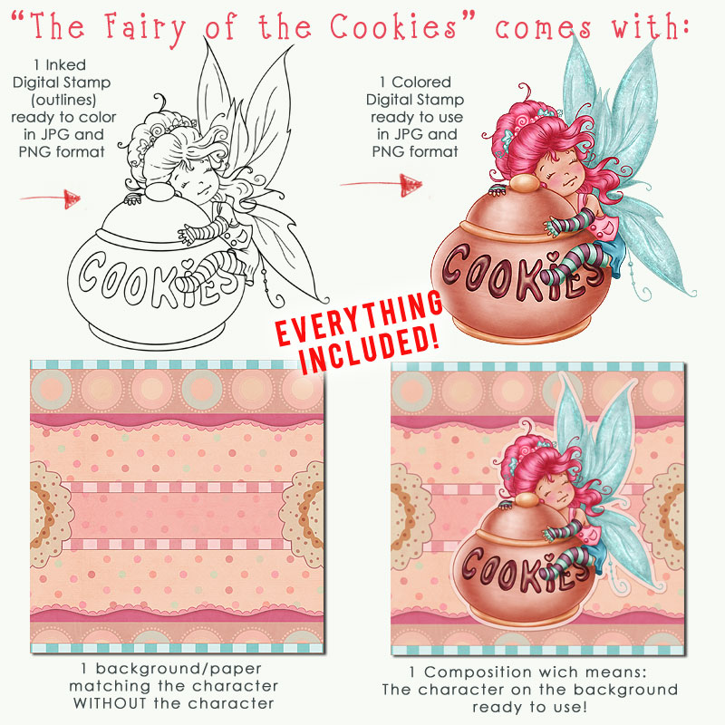 The Fairy of the Cookies - Digital Stamp