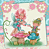 Fairy Tea Time - Digital Stamp