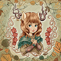 Forest Princess - Digital Stamp