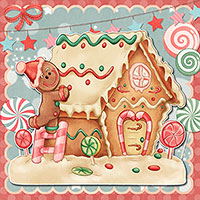 Gingerbread House - Digital Stamp