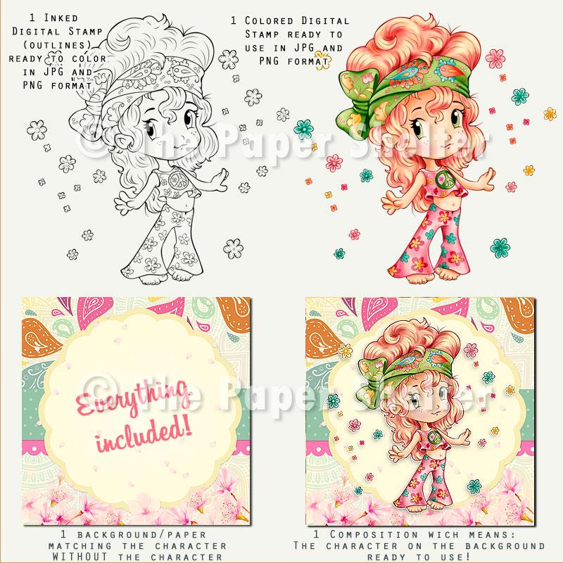 Groovy Girl - Digital Stamp