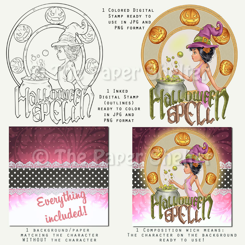 Halloween Spell - Digital Stamp - Click Image to Close