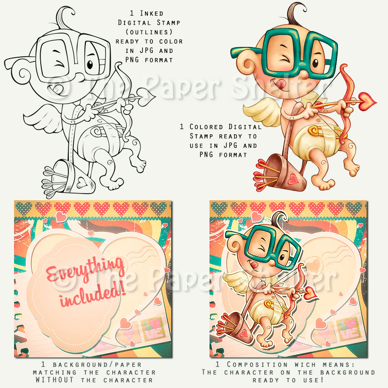 Hilarious Cupid *Updated - Digital Stamp