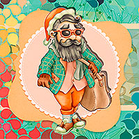Hipster Santa - Digital Stamp