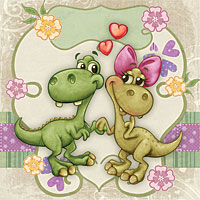 Jurassic Love - Digital Stamp