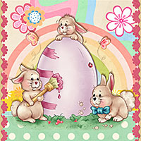 Little Easter Bunnies -Digital Stamp