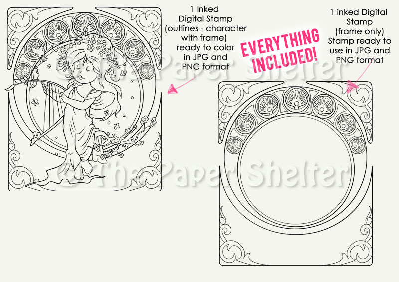A. Mucha Influence - Spring - Digital Stamp