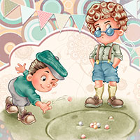 Playing Marbles - Digital Stamp