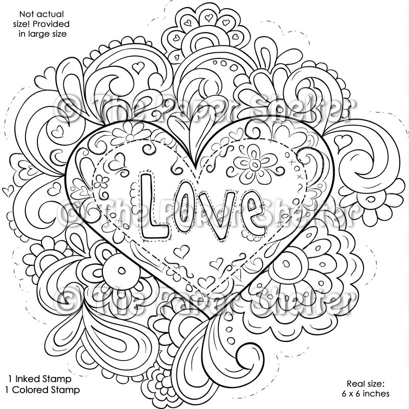 psychedelic coloring pages print - fancy psychedelic love digital stamp the paper shelter