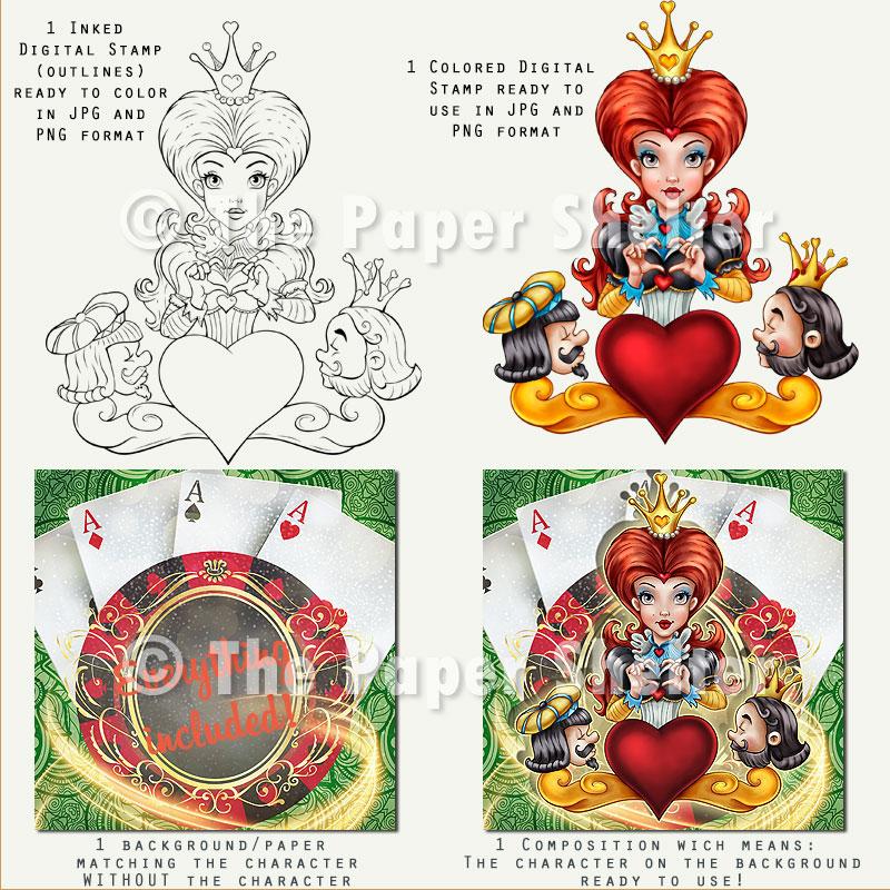 Queen Of Hearts - Digital Stamp