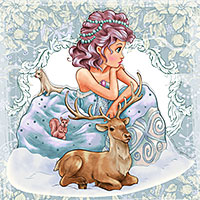 Snow Maiden - Digital Stamp