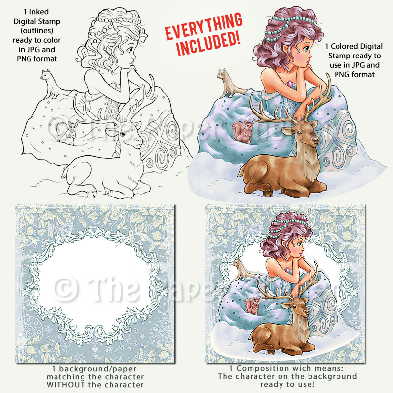Snow Maiden - Digital Stamp - Click Image to Close