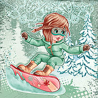 Snowboarder Girl - Digital Stamp