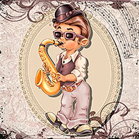 The Saxophonist - Digital Stamp