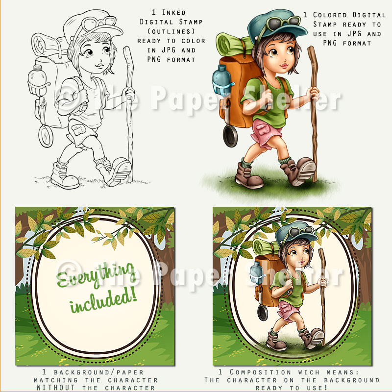Trekking Girl - Digital Stamp