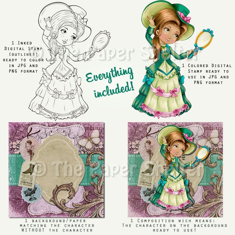Victorian Beauty *Updated - Digital Stamp