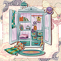 Vintage Closet - Digital Stamp