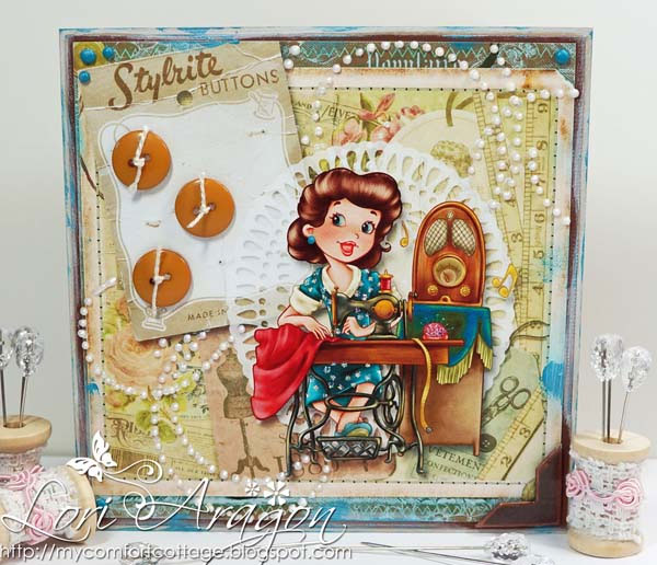 Vintage Seamstress - Digital Stamp