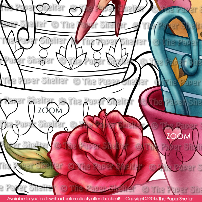 Vintage Tea Cups - Digital Stamp