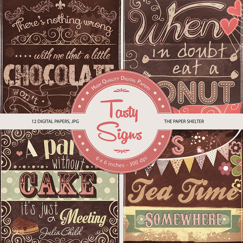 Tasty Signs - Paper Pack - Click Image to Close