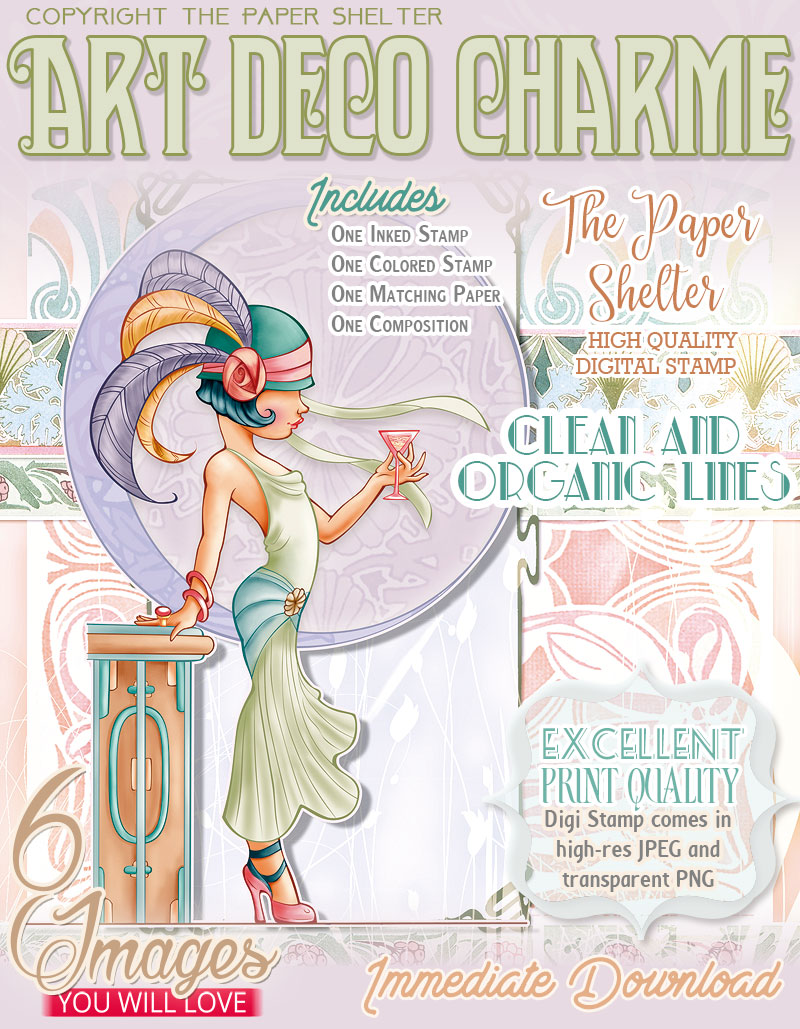 Art Deco Charm - Digital Stamp - Click Image to Close