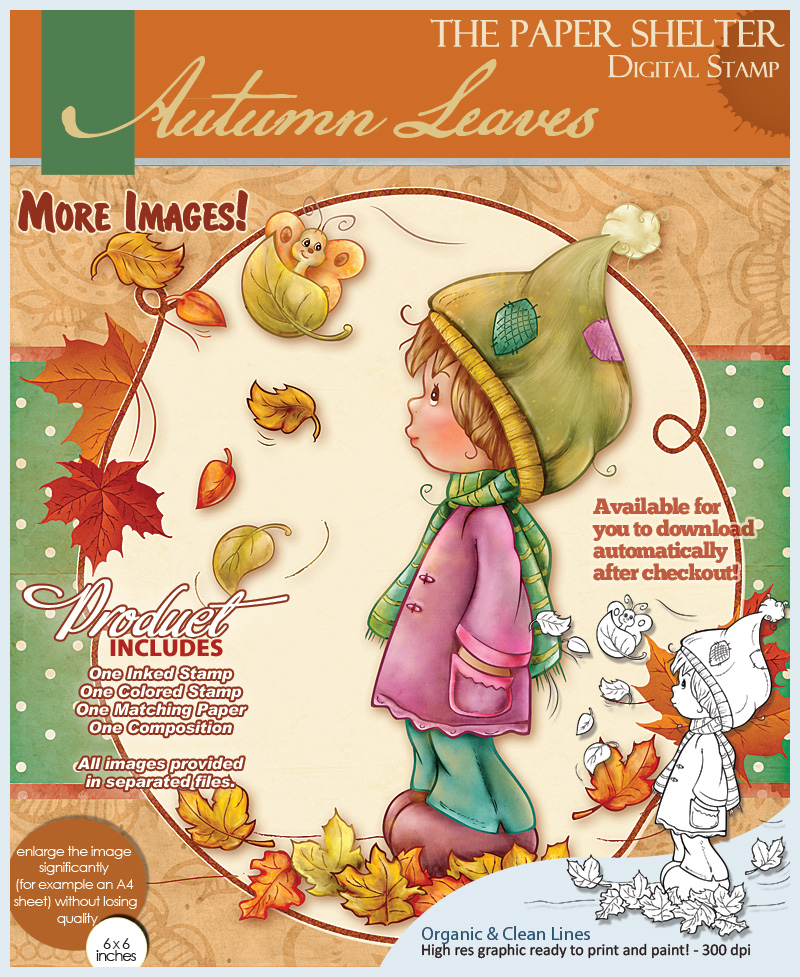 Autumn Leaves - Digital Stamp - Click Image to Close
