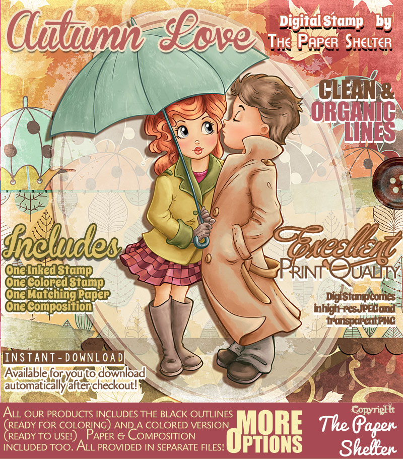 Autumn Love - Digital Stamp - Click Image to Close