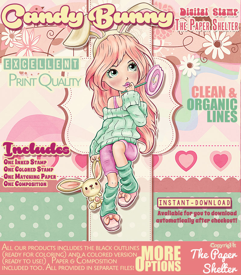 Candy Bunny - Digital Stamp - Click Image to Close