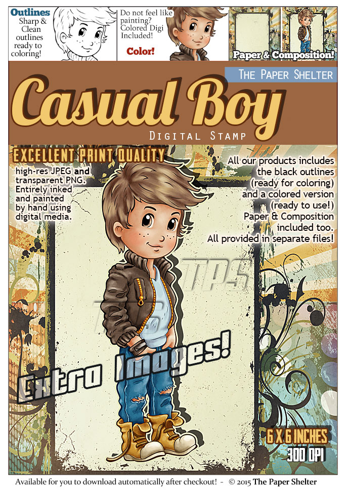 Casual Boy - Digital Stamp - Click Image to Close