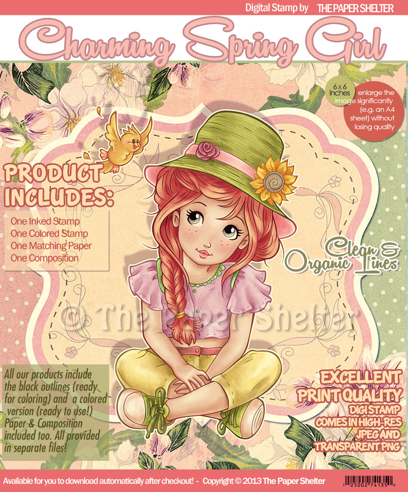 Charming Spring Girl - Digital Stamp - Click Image to Close