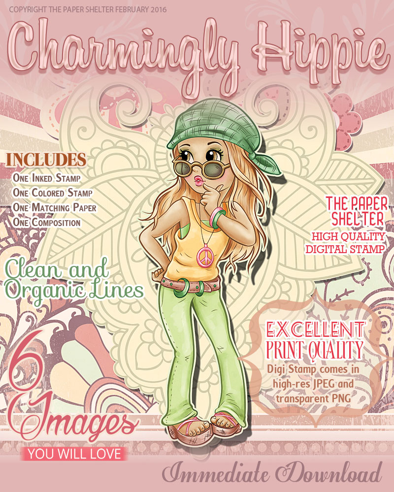 Charmingly Hippie - Digital Stamp - Click Image to Close