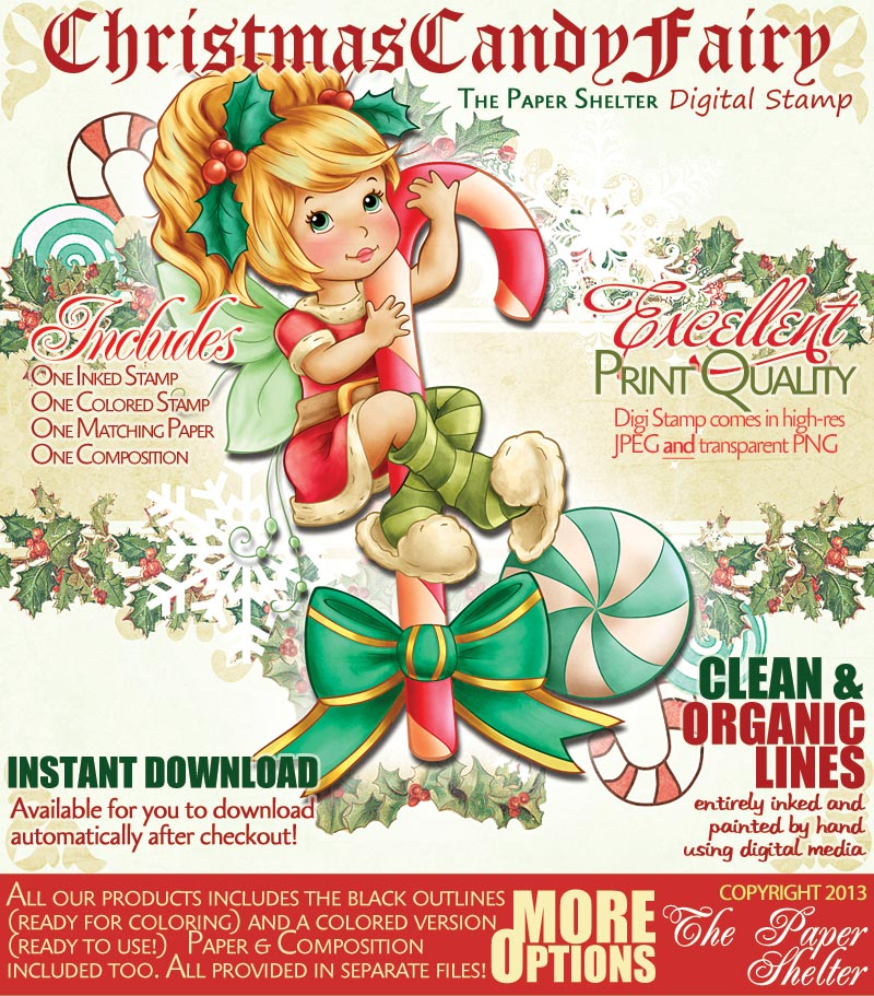 Christmas Candy Fairy - Digital Stamp - Click Image to Close