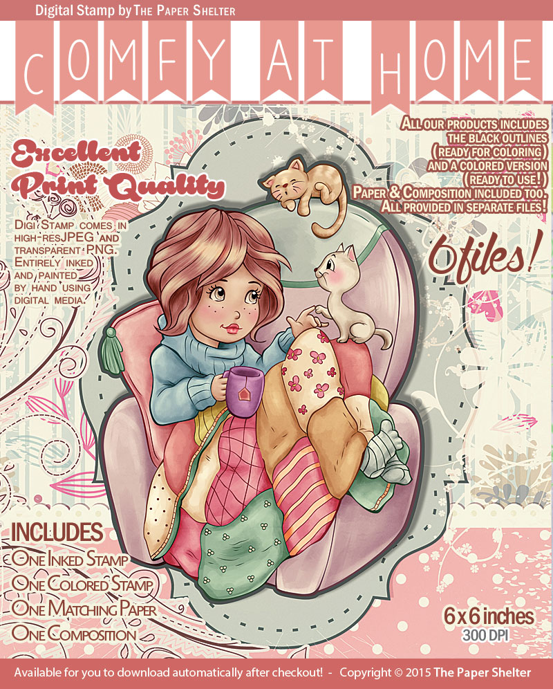 Comfy at Home - Digital Stamp - Click Image to Close