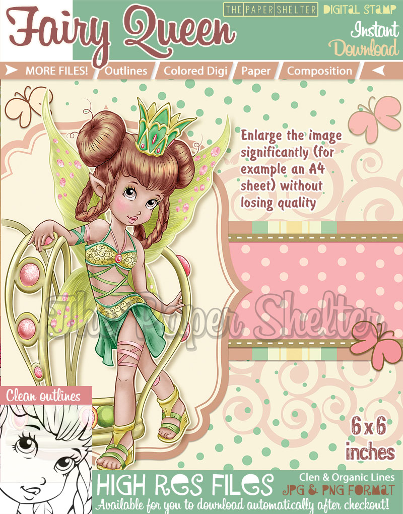 Fairy Queen - Digital Stamp - Click Image to Close