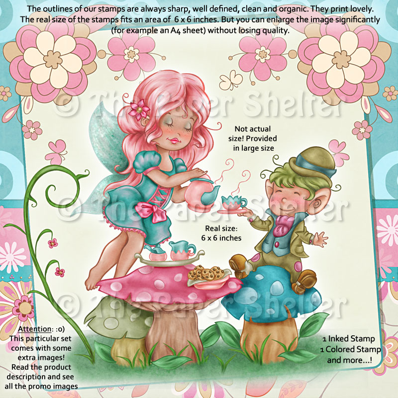 Fairy Tea Time - Digital Stamp - Click Image to Close
