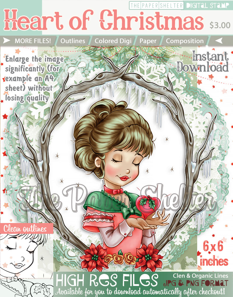 heart of christmas digital stamp