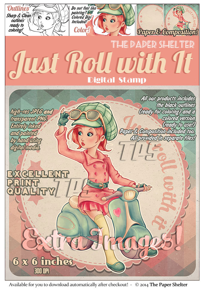 Just Roll with it - Digital Stamp - Click Image to Close