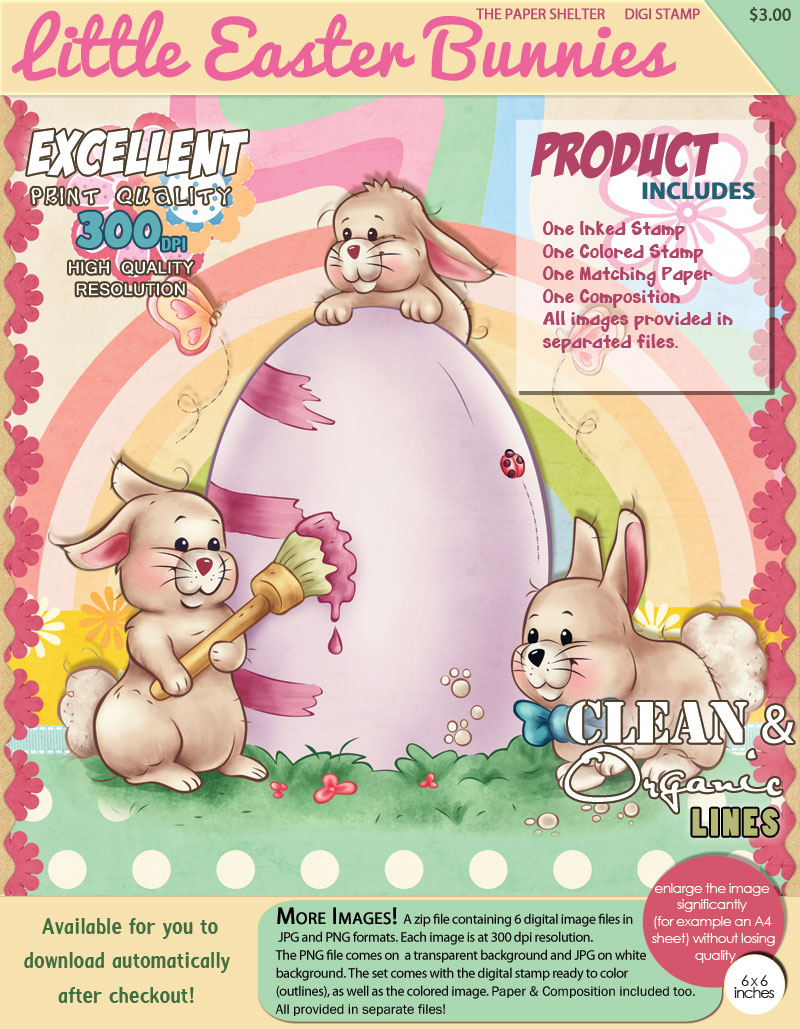 Little Easter Bunnies -Digital Stamp - Click Image to Close