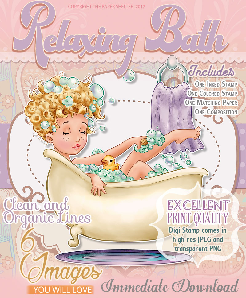 Relaxing Bath - Digital Stamp - Click Image to Close